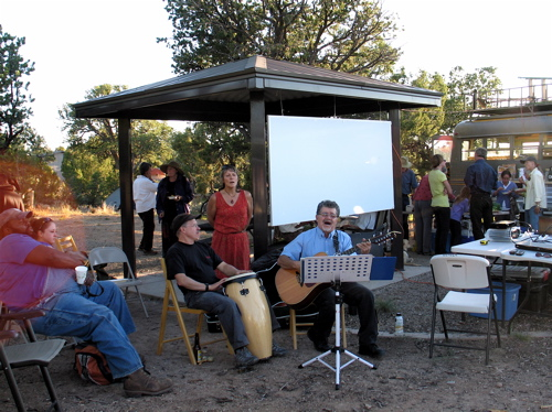 music and dinner around the campfire