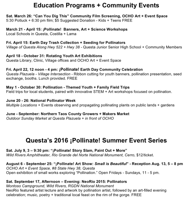 Pollinate Event Schedule