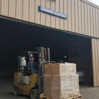 Questa Lumber generously receiving the cubes via freight