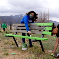 Park Benches get a fun bright new coat of paint, photo by Claire Coté